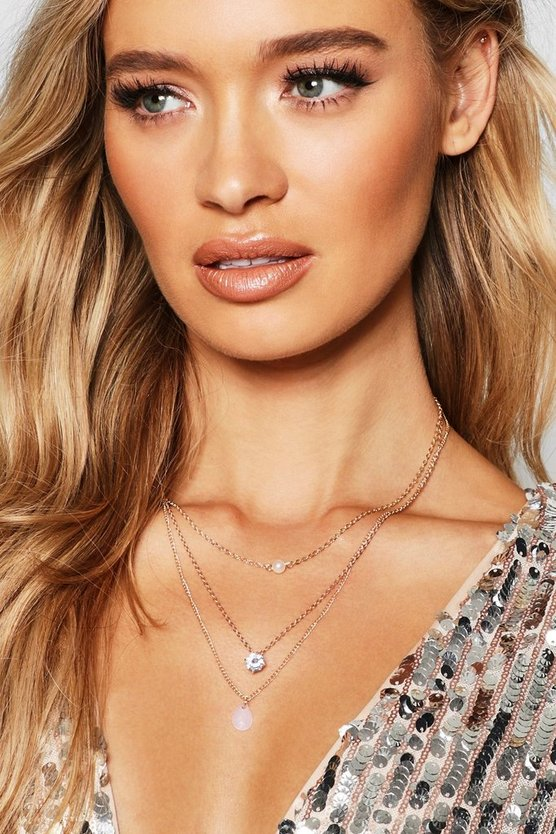 Gold Pearl & Diamante Delicate Layered Necklace