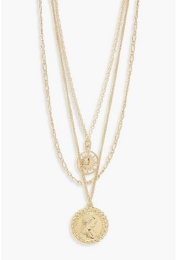 Gold Chain & Coin Layered Necklace