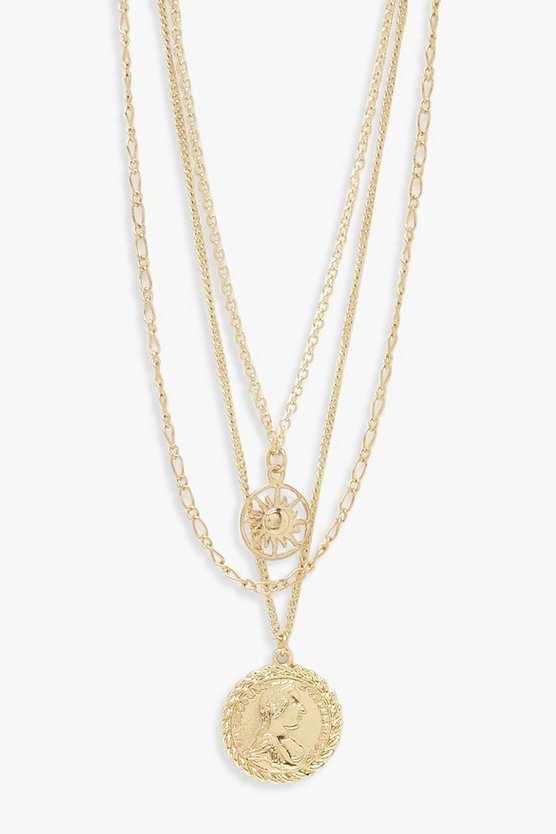 Womens Gold Chain & Coin Layered Necklace