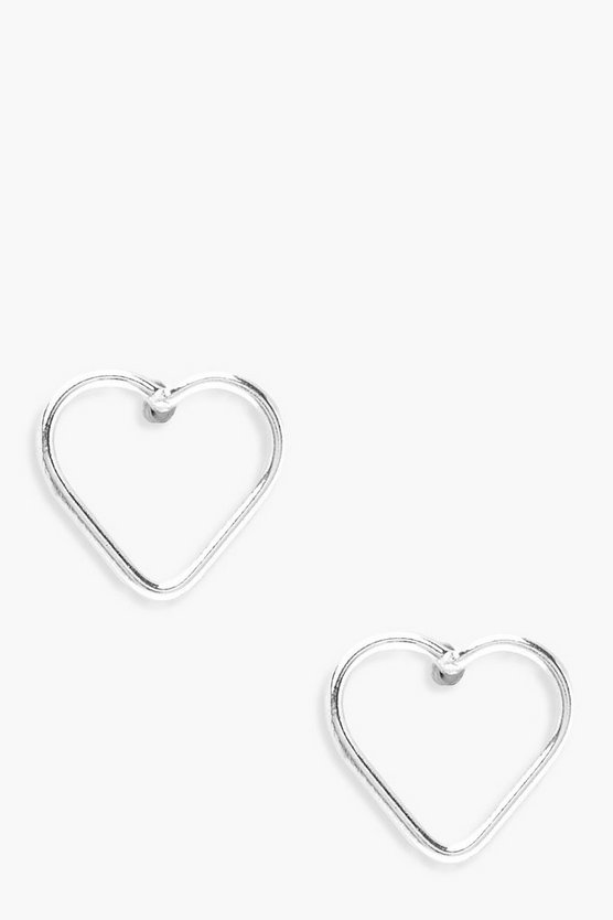 Sterling Silver Simple Heart Studs