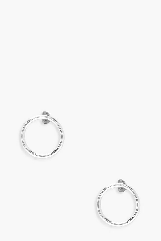 Womens Silver Sterling Silver Simple Circle Studs