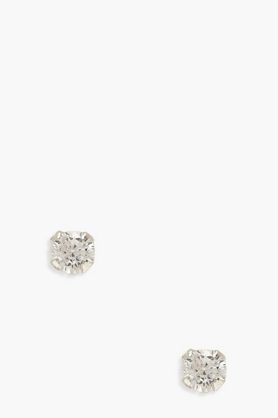 Womens Sterling Silver Gem Studs