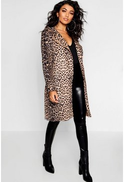 Womens Camel Leopard Print Suedette Trench