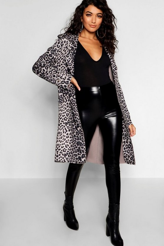 Leopard Print Suedette Trench