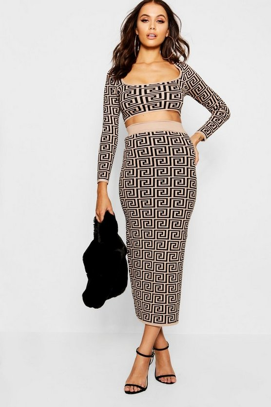 Womens Camel Long Sleeve Geometric Knitted Co-ord