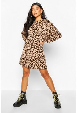 Womens Camel Leopard Print Balloon Sleeve Oversized Sweatshirt Dress