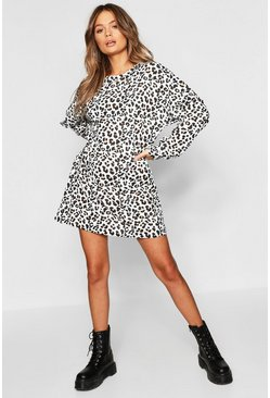 Womens Ecru Leopard Print Balloon Sleeve Oversized Sweatshirt Dress