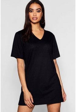 Womens Black Cotton Oversized V-Neck T-Shirt Dress