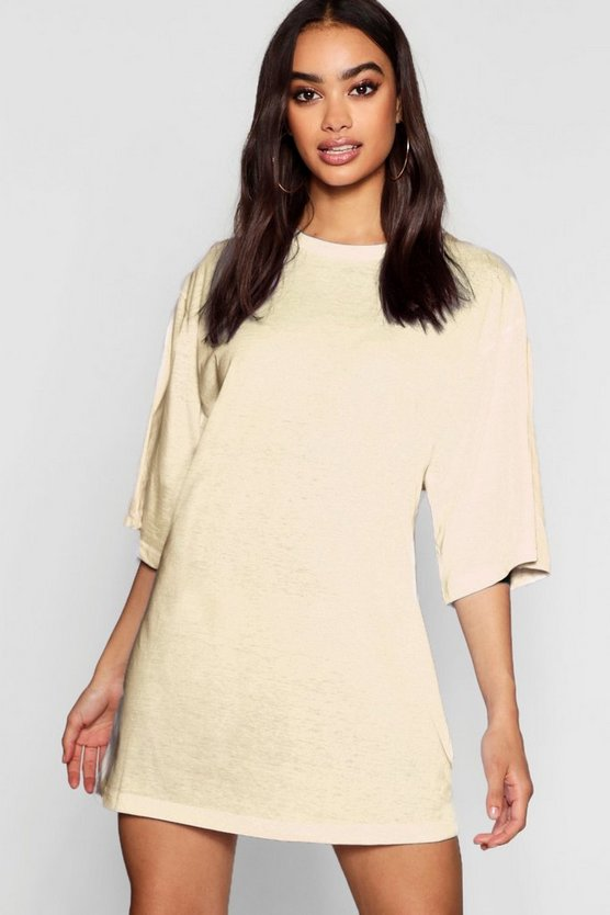 Cotton Oversized 3/4 Sleeve T-Shirt Dress