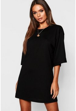 Womens Black Cotton Oversized 3/4 Sleeve T-Shirt Dress