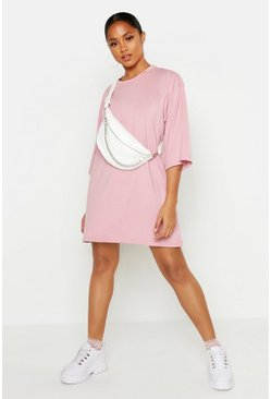 Baumwolle oversized T-Shirt-Kleid mit 3/4 Arm, Blush