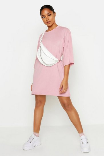 Womens Blush Cotton Oversized 3/4 Sleeve T-Shirt Dress