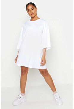 Womens White Cotton Oversized 3/4 Sleeve T-Shirt Dress