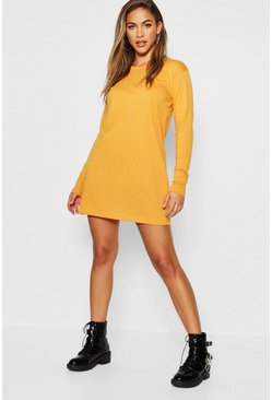 Womens Mustard Cotton Long Sleeve Oversized T-Shirt Dress