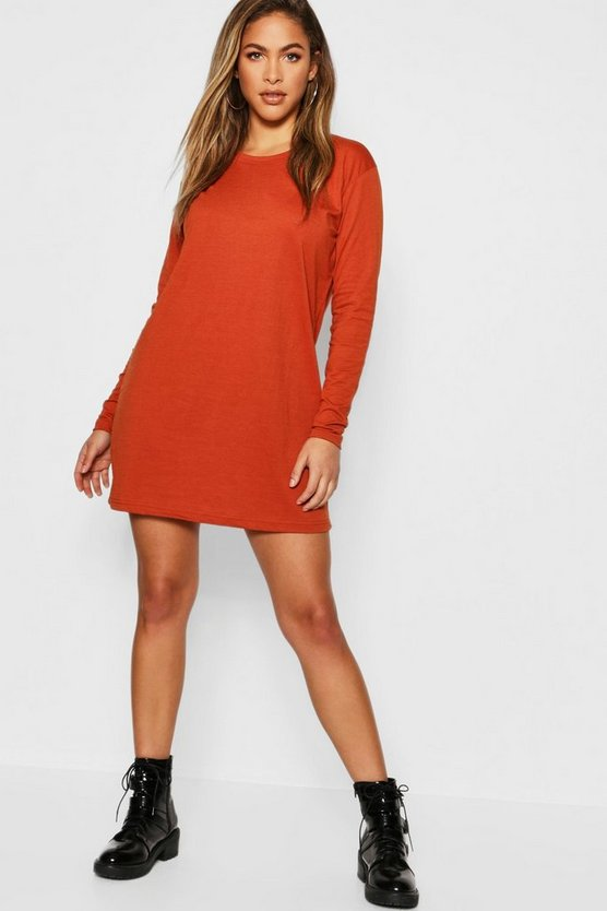 Womens Rust Cotton Long Sleeve Oversized T-Shirt Dress