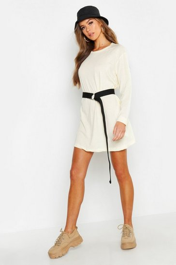 Womens Ecru Cotton Long Sleeve Oversized T-Shirt Dress