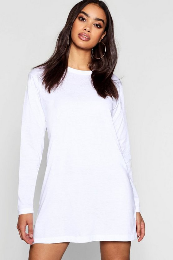 Cotton Long Sleeve Oversized T-Shirt Dress