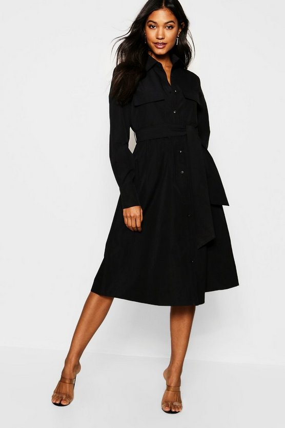 Womens Black Utility Pocket Midi Shirt Dress