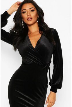 Black Velvet Long Sleeve Bodycon Midi Dress
