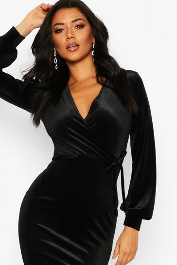 Womens Black Velvet Long Sleeve Bodycon Midi Dress