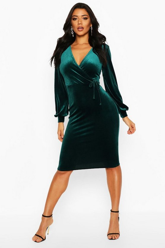 Velvet Long Sleeve Bodycon Midi Dress