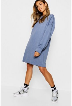 Washed blue Oversize sweatshirtklänning