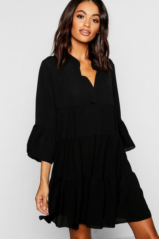 Womens Black Woven Tiered Shirt Dress