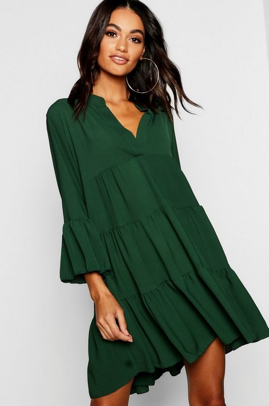 Womens Emerald Woven Tiered Shirt Dress