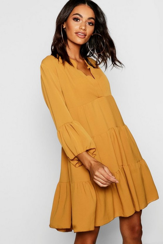 Woven Tiered Shirt Dress