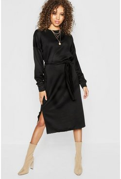 Womens Black Self Belt Midi Sweatshirt Dress