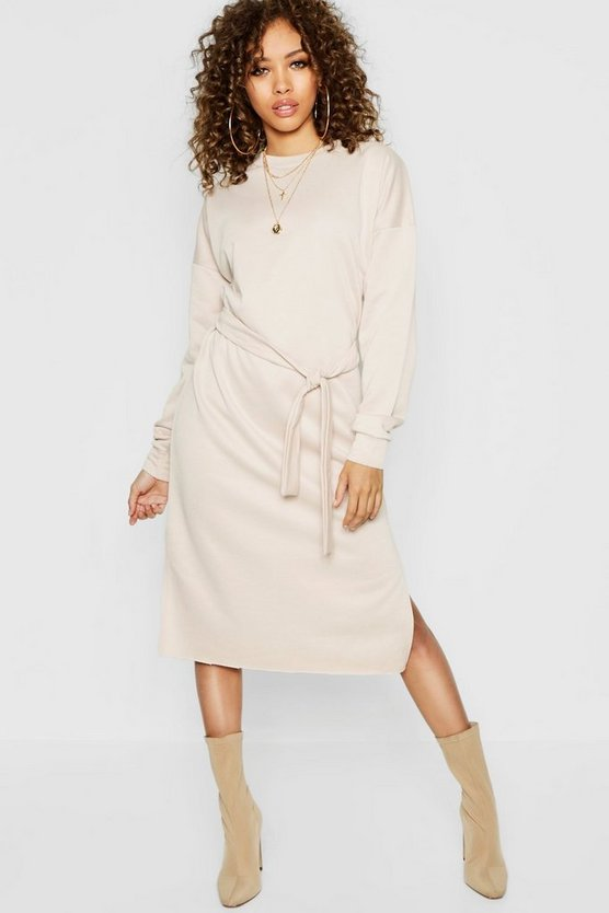 Womens Ecru Self Belt Midi Sweatshirt Dress