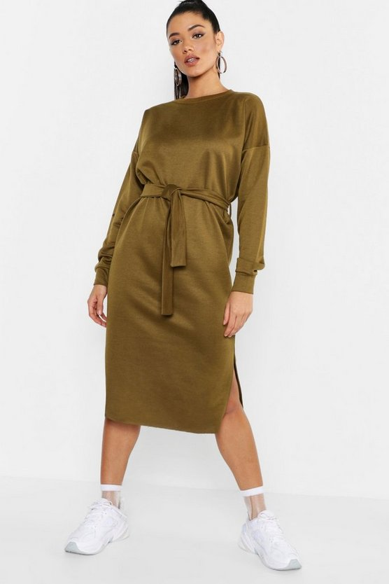 Womens Khaki Self Belt Midi Sweatshirt Dress