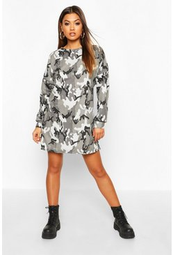 Womens Black Oversized Camo Loopback Sweat Dress