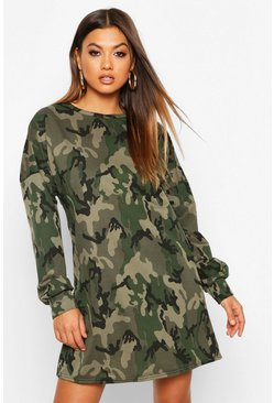 Womens Khaki Oversized Camo Loopback Sweat Dress