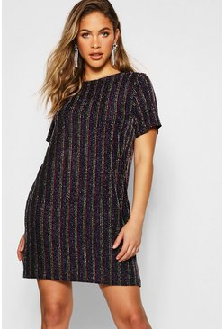 Womens Black Rainbow Metallic Shift Dress
