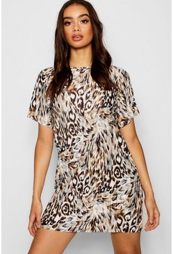 Womens Plisse Leopard Shift Dress