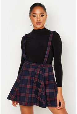 Womens Navy Tartan Check Pinafore Skirt