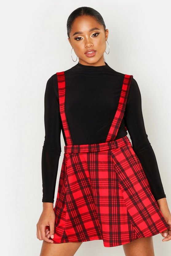 Red Tartan Check Pinafore Skirt