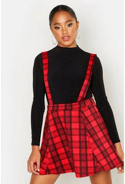 Womens Red Tartan Check Pinafore Skirt