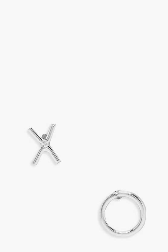 Womens Silver Sterling Silver XO Simple Studs