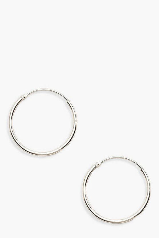 Womens Silver Sterling Silver 20mm Hoops