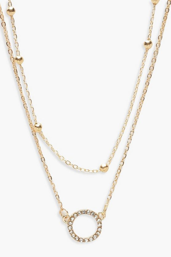 Diamante Circle & Chain Choker Pack, Gold, Женские