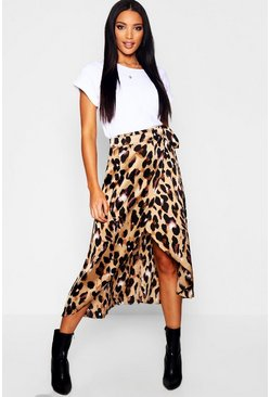 Womens Brown Leopard Print Satin Wrap Midaxi Skirt