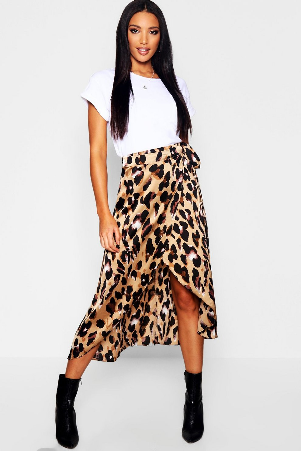 3bd4f2878e Womens Brown Leopard Print Satin Wrap Midaxi Skirt