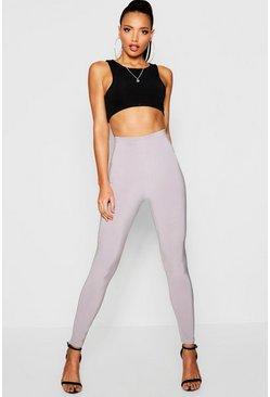 Womens Grey Double Layer Slinky Leggings