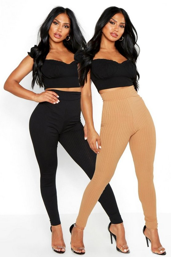 Womens Camel Basic Jumbo Rib 2 Pack Leggings