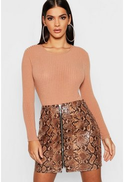 Womens Brown Snakeskin PU Leather Look Zip Front Mini Skirt