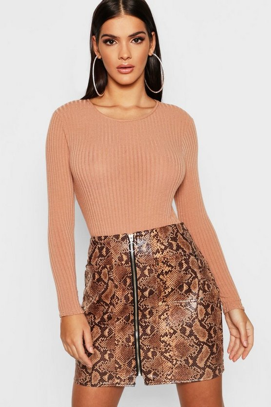 Snakeskin PU Leather Look Zip Front Mini Skirt