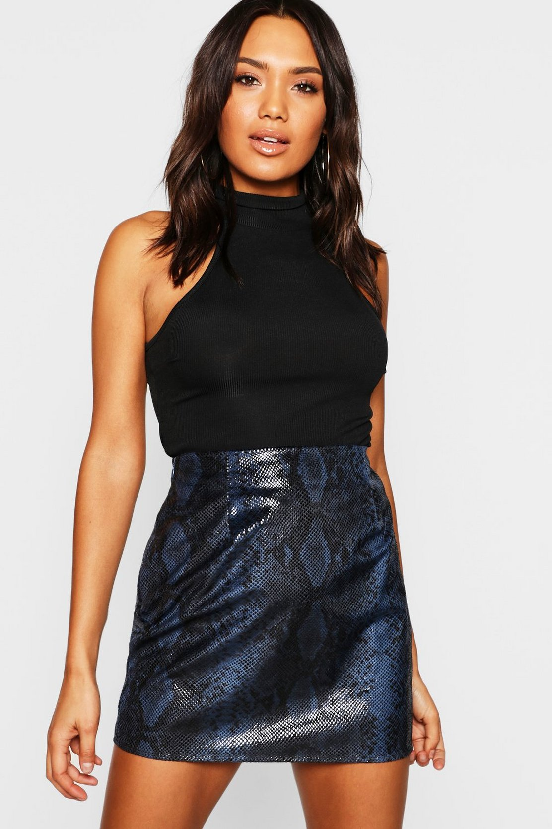 Wet Look Snake Mini Skirt by Boohoo