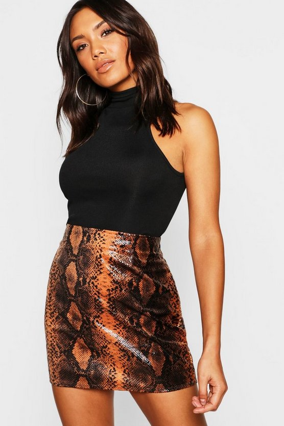 Womens Rust Wet Look Snake Mini Skirt
